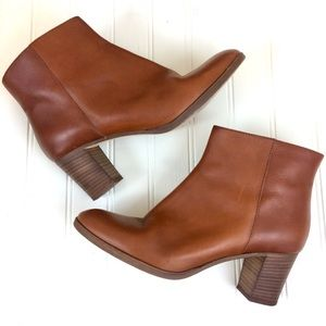 J. Crew cognac brown leather zip-up ankle boots